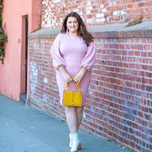 Dresses & Skirts - Pale blush bodycon puff sleeve dress size 20